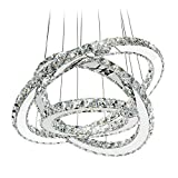 MEEROSEE LED Crystal Chandelier Lighting Ceiling Lights Fixture Contemporary Adjustable Stainless Steel 3 Rings Light for Living Room Bedroom Dining Room D19.7'+15.7'+11.8'