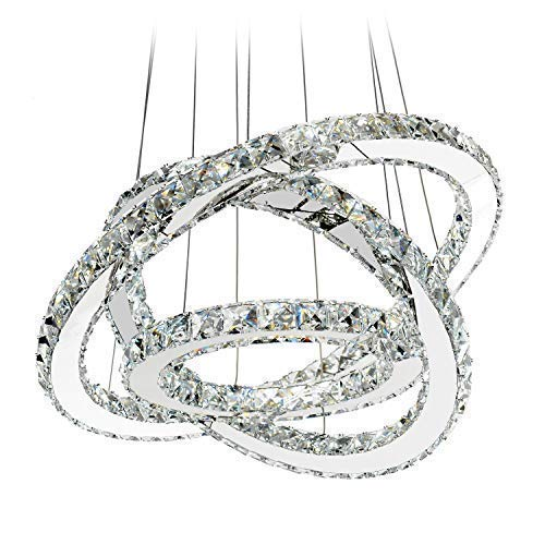 MEEROSEE LED Crystal Chandelier Lighting Ceiling Lights Fixture Contemporary Adjustable Stainless Steel 3 Rings Light for Living Room Bedroom Dining Room D19.7