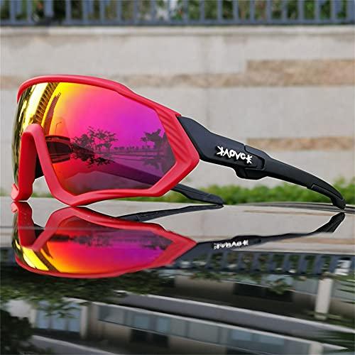 ERWEI Gafas de Sol Deportivas polarizadas, Gafas de Sol de Ciclismo polarizadas para Hombres Mujeres con 5 lenos Intercambiables para Correr béisbol Corriendo y Gafas de Ciclismo,D