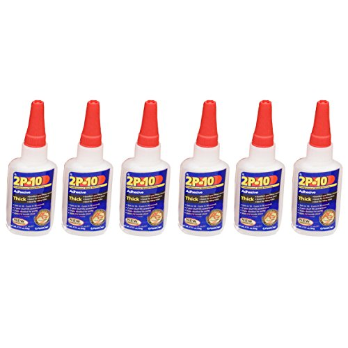 FastCap 2P-10 Professional 2 Oz Thick Super Glue Adhesive Bottles, 6-Pack