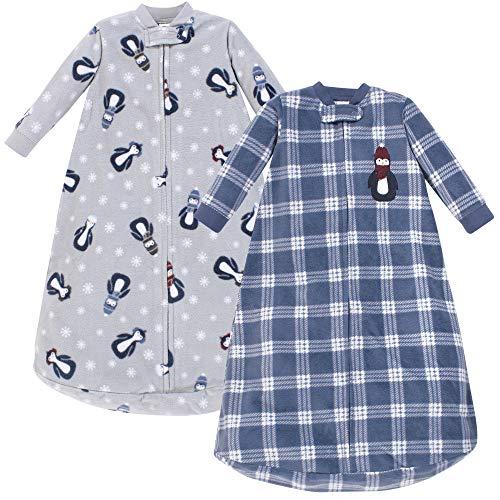 Hudson Baby Unisex Baby Long Sleeve Fleece Sleeping Bag, Blue Penguin, 0-9 Months
