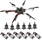 powerday DIY F550 ATF kit de hexacopter kit de marco y X2212 980KV motor sin escobillas y controlador de velocidad Simonk 30A y 1045hélice y F450/F550 tren de aterrizaje