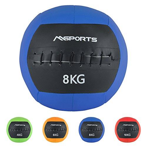 MSPORTS Wall-Ball Premium Gewichtsball 2-10 kg Medizinball (8 kg - Blau)