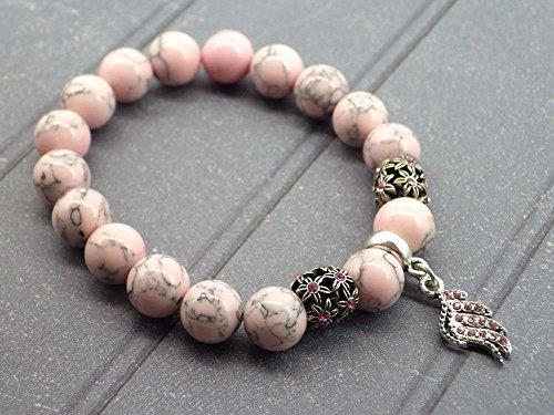 Rosa reconstituido perlas y Charms pluma en forma de cristales de turquesa pulsera