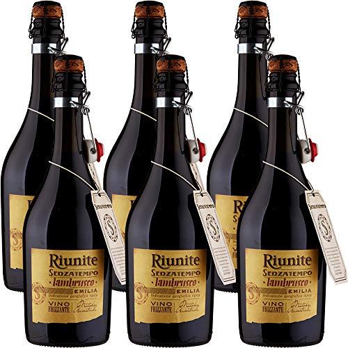 Lambrusco Emilia IGT | Riunite Senzatempo | Vino Rosso Frizzante | Fiaschetto con Tappo in Sughero | 6 Bottiglie 75cl | Idea Regalo