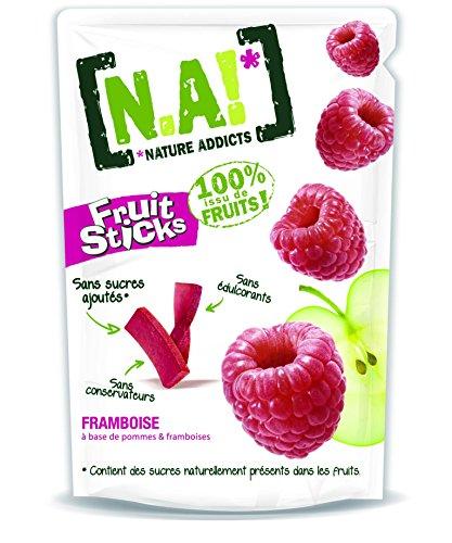 N.A! Nature Addicts - Sachet de Fruit Sticks Framboise 40g - 100% Issu de Fruits - Sans Sucres Ajoutés, Sans Édulcorants ni Conservateurs - Sachet Refermable à Emmener Partout - Lot de 1