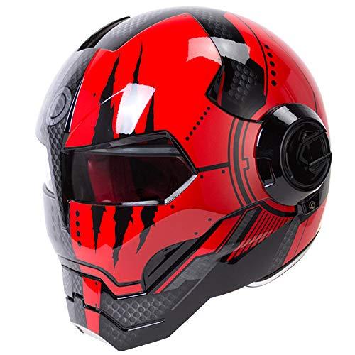ZHXH New Off-Road Motorcycle Helmet Iron Man Street Complete Motorcycle Racing Helmet Off-Road Head Protection Iron Man Anti-Fall,02,M