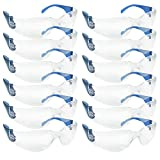 SAFE HANDLER Clear Lens Color Temple Safety Glasses | One Size, Adult, Youth, Clear Protective Polycarbonate Lens Color Temple, BLUE, 12 per Box (1 box)