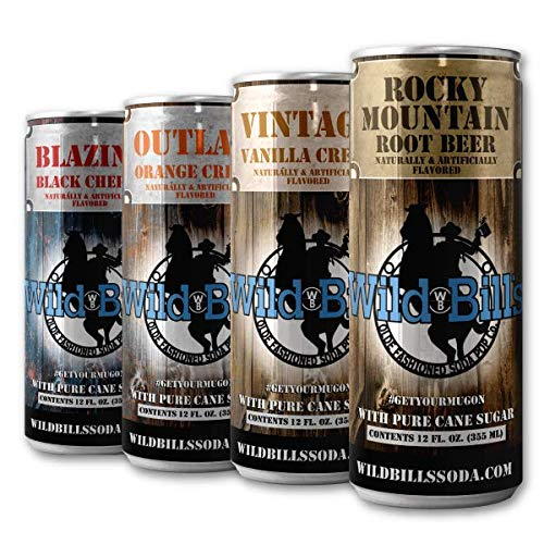 Wild Bill's Soda Variety 12 Pack - Root Beer, Vanilla Cream, Black Cherry, Orange Cream Soda Cans - Pure Cane Sugar