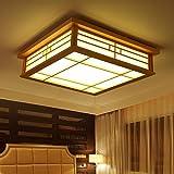 Ceiling Light Orginal Wood LED Flush Mount Japanese Ceiling Light Chandeliers Lamp For Bedroom Living Room Dining Room Kitchen (Warm light)