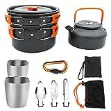 Artículos for cocinar con mochila de camping equipo de senderismo al aire libre equipo de cocina de aluminio compacto Cookware que acampa Mess Kit de efecto panorámico Hervidor Copas Spork gancho Equi
