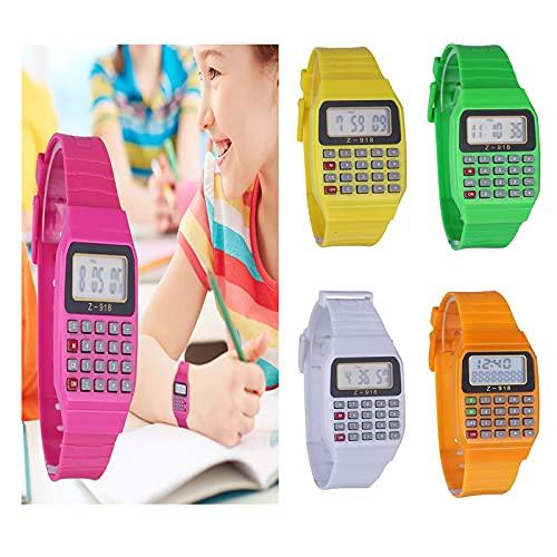 Siviki Calculator Handheld Pocket Calculator Watch Unisex Silicone Multi-Purpose Date Time Kids Electronic Wrist Calculator Watch Exam Tool (Pink)
