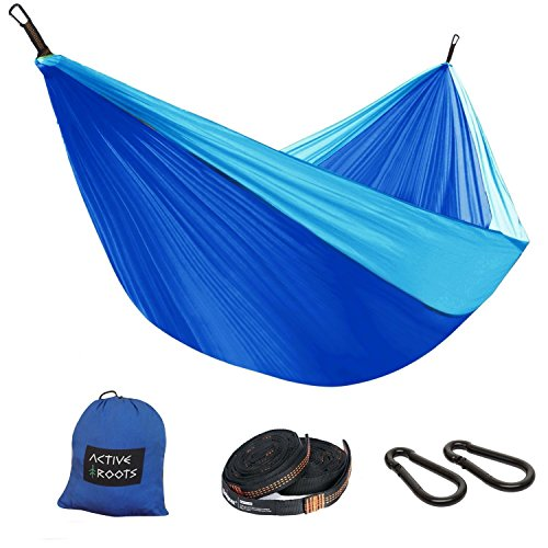 Active Roots Double Camping Hammock with Tree Straps - Portable...