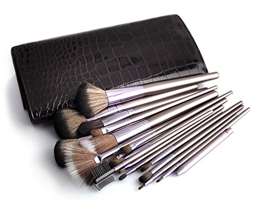 Ensemble de pinceaux cosmétiques MAKEUP 18 pièces avec pinceaux de artiste de maquillage | Ensemble de cosmétiques professionnels incl. Sac cosmétique dans la conception de crocodile