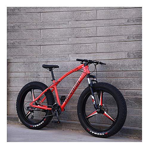 YCHBOS 26' Bicicletas de Montaña, MTB de Nieve Beach, Bicicleta de Neumáticos de Grasa, 24 Velocidad Bikes Montaña con Asiento Ajustable, Doble Freno de DiscoA