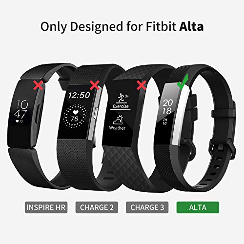 Welltin Bands Compatible with Fitbit Alta/Alta HR for Women and Men(4 Pack), Classic Soft Silicone Sport Strap Replacement Wristband for Fitbit Alta/Alta HR/Fitbit,Small Large 2