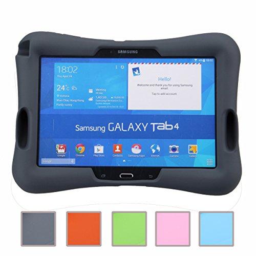 NEWSTYLE Samsung Galaxy Tab 4 10.1 Kinderfreundliche Silikon Hülle Schutzhülle Tasche Case für Samsung Tab 4 SM-T530/T531/T535 Tab 3 GT-P5200 P5210 P5220 (10,1 Zoll) - Schwarz