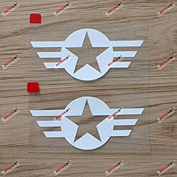 2  4   Air Force Star WW2 Decal Sticker Car Vinyl fit for Jeep Willys White a sda1