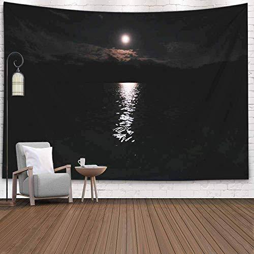 hon-ey WE Wandteppiche Dekoration Wohnzimmer Schlafzimmer für Zuhause Inhouse 80X60 Zoll Nacht Das Mondlicht von der Oberfläche unten reflektiert