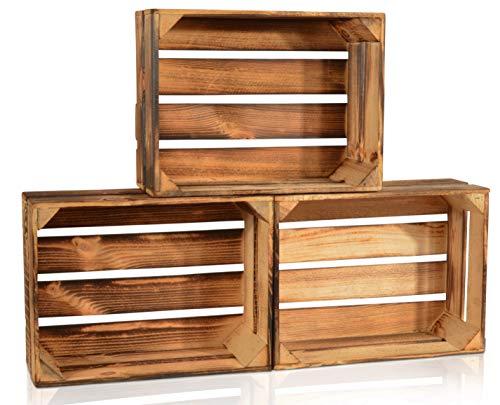 CHICCIE 3 Set Geflammte Obstkisten - 38cm x 28cm Holzkisten Weinkisten Holz Kisten Apfelkisten Obstkiste Gebrannt