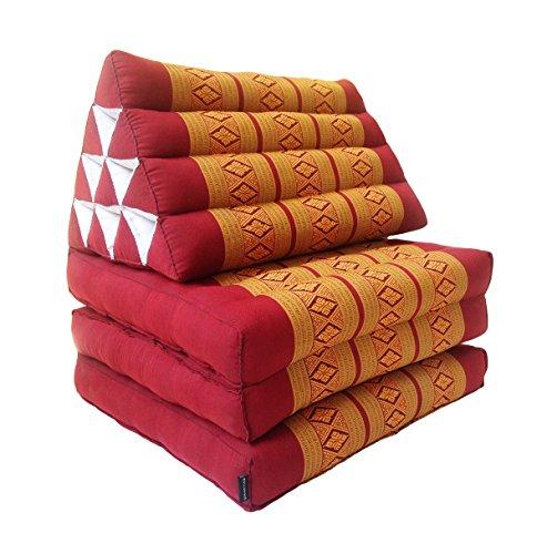 Collumino, materasso da meditazione tradizionale thailandese Kapok a 3 strati, con cuscino reclinabile triangolare in stile orientale, per yoga, massaggi o relax rame, bordeaux.