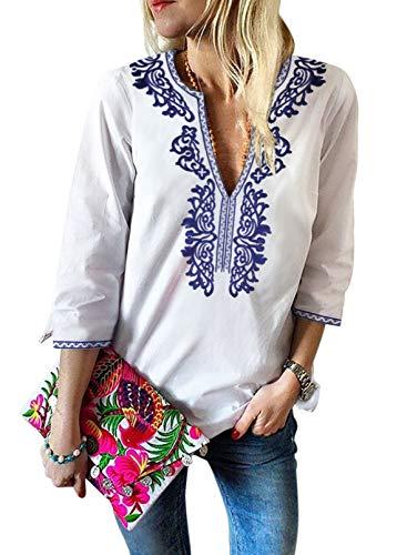 Arainlo Damen Langarm-Sweatshirts Pullover Tops V Ausschnitt Shirt Boho Bestickter...