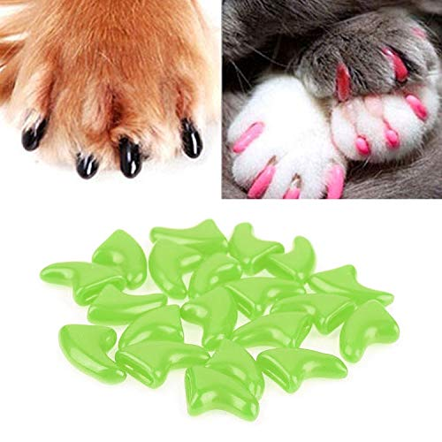XGQ 20 STÜCKE Silikon Soft Cat Nail Caps/Cat Paw Claw/Haustier Nagelschutz/Cat Nail Cover, Größe: S (Schwarz) (Color : Green)
