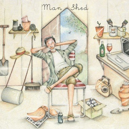 Greetings Card 'Man Shed' - Blank Greetings Card by Berni Parker (ML02)