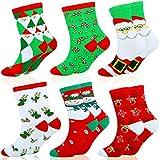 HOWAF 6 Pares Algodón Calcetines de Navidad para Adultos Niños, Calcetines Cálidos de Navidad para Hombres Mujeres Niñas Niños, Unisex Calcetines Ideas para Saco de Navidad