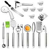 Taerausi Stainless Steel Kitchen Utensil Set, Baking Utensil Cooking Gadgets Cookware Set with Whisk, Egg Separator and Silicone Cooking Brush, Kitchen Gadgets Kitchen Tool Set Gift, 18 PCS