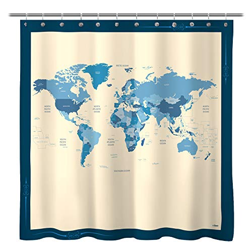 Sunlit Designer New World Map Quality Fabric Shower Curtain with Countries and Ocean, Geography Curtains for Bathroom Decor - Blue and Beige