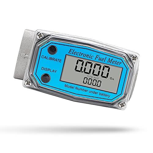 CGOLDENWALL Turbine Flow Meter Electronic Digital Flowmeter Liquid Water Meter Fuel Meter Gas Diesel Fuel Oil Flowmeter Gasoline, Kerosene Fuel Flow Meter 2-26.4 GPM (9-100 LPM) (1 inch)