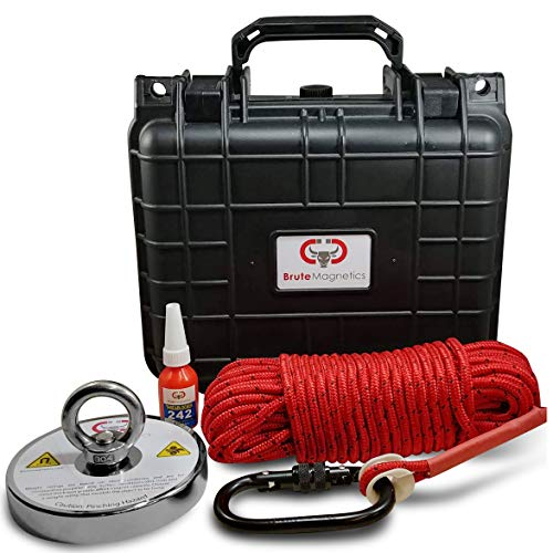 Brute Box 1,200+ lb The Original Magnet Fishing Bundle (4.72' Magnet + Rope + Carabiner + Gloves +Threadlocker)