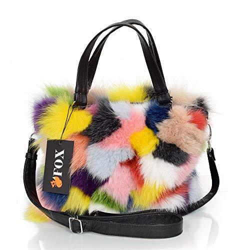FOX FASHION Damen Handtasche mit Reißverschluss aus Fuchs Fell Pelztasche Handtasche Fuchs Fell Pelz Fuchspelz Tasche Echtfell Felltasche Echt