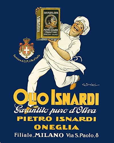 "Olive Oil Olio Isnardi Cook Chef Kitchen Milan Milano Italy Italia Italian Food 16"" X 20"" Image Size SHIPPED ROLLED Vintage Poster Reproduction we have other sizes available"