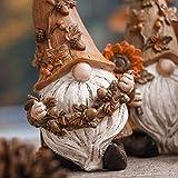 VALERY MADELYN 3er Set 14cm Kunstharz niedlichen Zwerge Figuren Sonnenblume halten und Langen Hut tragen Tischdeko für Haus und Garten Herbstdeko Kinder Erntedank Geschenk - 4