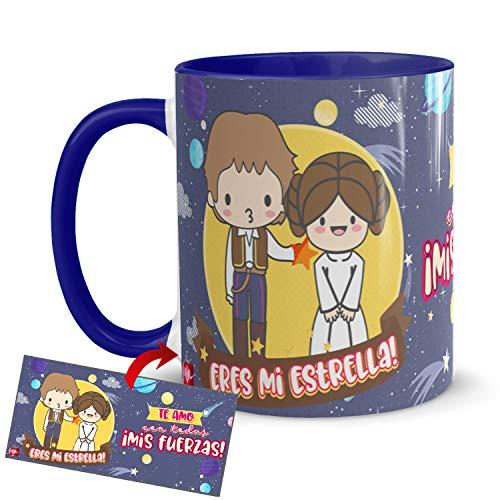 Kembilove Taza Desayuno para Parejas – Tazas Originales de Frikis para Enamorados – Taza Roja con Mensaje Gracioso Eres mi estrella! – Tazas de de café para regalar el día de San Valentín