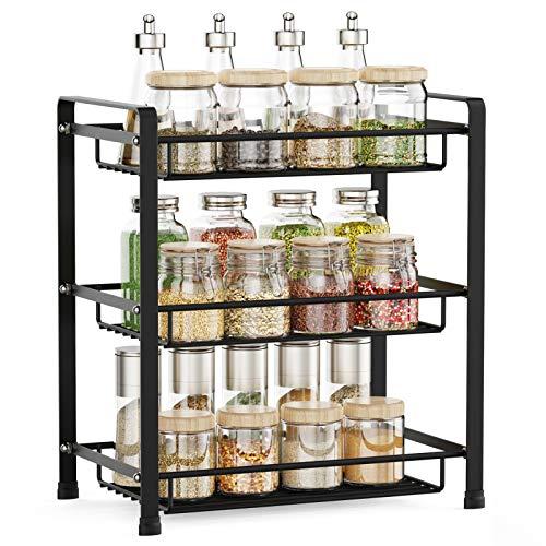Spice Rack, Veckle 3 Tier Kitchen Bathroom Counter Rack Desktop Organizer Pantry Shelf Multipurpose Storage Standing Rack, Black