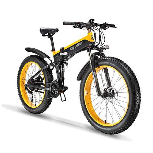 Extrbici Vélo Pliable électrique Homme Gros Pneu VTT 1000 W 48 V Tout Terrain Adult Trois Modes de Conduite XF690 (Jaune)