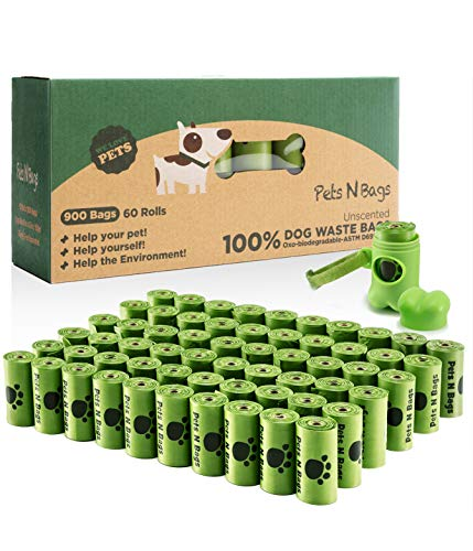 Pets N Bags Dog Waste Poop Bags, Biodegradable, Refill Rolls (60 Rolls / 900 Count, Unscented), Includes Dispenser