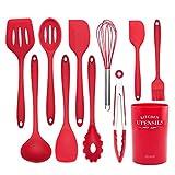 Utensilios Cocina Silicona,Utensilios de Cocina de Silicona Utensilios de Cocina Set Utensilios de Cocina antiadherentes Utensilios de Cocina Herramientas para Hornear Accesorios de Cocina-Rojo 11set
