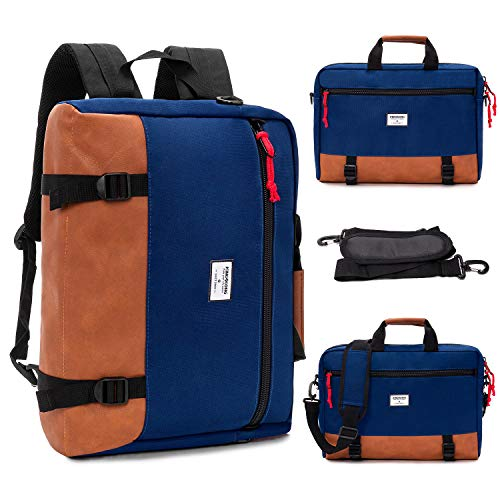 KINGSLONG Laptop Backpack School Mens Rucksack Daypack Waterproof 15.6 inch Laptop Sleeve Shoulder Bag 3 in1 Multipurpose Travel Satchel Bags (Blue)