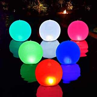 """Floating Pool Lights Inflatable Waterproof IP68 Solar Glow Globe,14"""" Outdoor Pool Ball Lamp 4 Color Changing LED Night Lig..."""