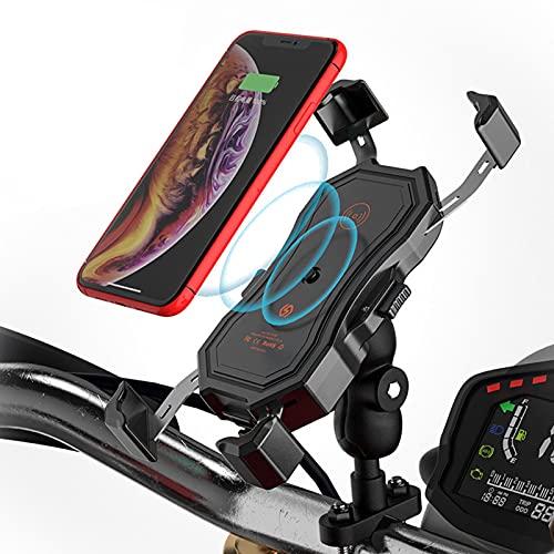 Soporte Movil Bicicleta, Soportes para Teléfono Móvil, Motocicleta Soporte De Navegación para Teléfono Celular, Inalámbrico Y QC3.0 USB 2 En 1, para Teléfonos Móviles De 4,7 A 6,5 ??Pulgadas