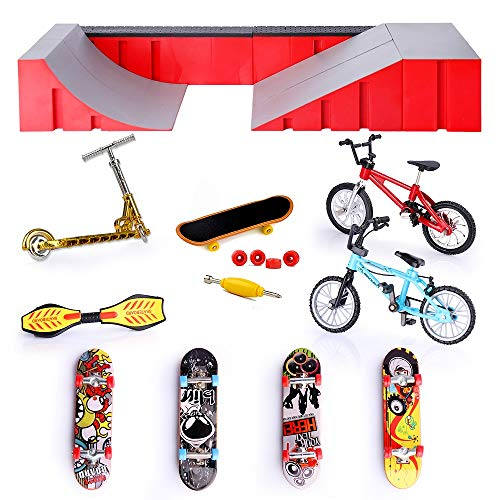 ZHIHAN 16 Pieces Finger Skateboard Skatepark Set, Mini Bike Fingerboard Ramps and Finger Boards for Kids, with Replacement Wheels and Tools Birthday Gifts Party Favors for Boys and Girls