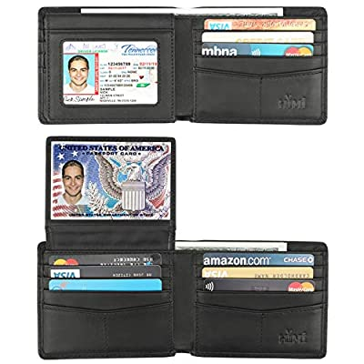 Wallet for Men-Genuine Leather RFID Blocking Bifold Stylish Wallet With 2 ID Window