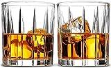 Decantador de copa de vino Whisky Decanter Crystal Whisky Glass Conjunto de 2, estilo europeo Cocktail Aristocrático Exquisito Diseño de rayas de diseño de whisky, para alcohol de licor Borbón escocés