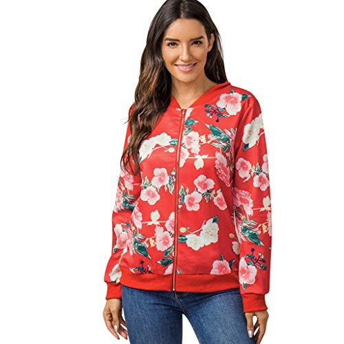 BHYDRY Damen Casual Jacke Blumenmuster Herbst Frühling Langarm Bomberjacke Reißverschluss Stehkragen Outwear Kurz Coat