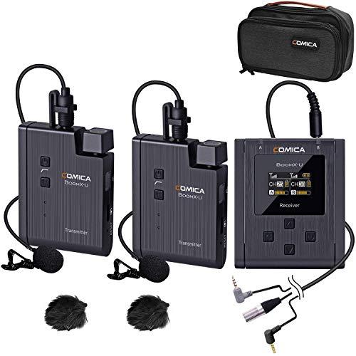 Sistema de Micrófono Lavalier Inalámbrico Comica BoomX-U2 Micrófono de Clip de Solapa Inalámbrico UHF de 48 Canales con 2 Transmisores y 1 Receptor para Cámara DSLR/Videocámara/Teléfono Inteligente