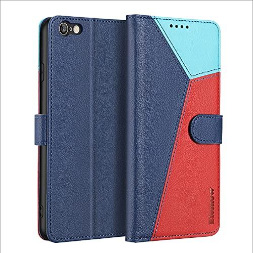ELESNOW Funda para iPhone 6 / iPhone 6s - 4.7', Carcasa Magnética Tarjetero Tapa de Cuero para Apple iPhone 6 / 6s (Azul/Rojo/Cielo azu)